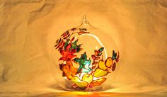 Autumn composition christmas glass ball by RowenaGlassCreations