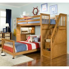 Have to have it. Perfect for my 2 boys' rooms great way to add desk/storage & integrate their existing beds  Schoolhouse Stairway Loft Bed - Pecan $1489.00
