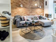Aranżacja salonu z czerwoną cegłą i szarą sofą (51875)