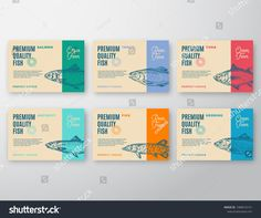 Abstract Vector Packaging Design or Label. Modern Typography and Hand Drawn Fish Silhouettes Background Layouts with Soft Shadows. Food Packaging Design, Brand Packaging, Modern Typography, Graphic Design Typography, Fish Illustration, Illustrations, Drawn Fish, Fish Silhouette, Fish Design
