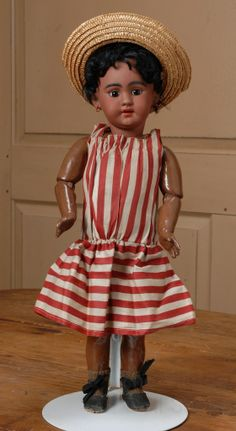 """18"""" All Original Simon & Halbig 1009 Black Child Doll  Becky's Back Room Exclusive to Ruby Lane"""
