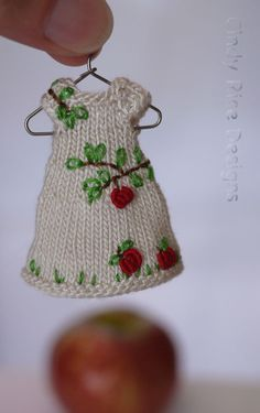 "Apple Time II, a tiny hand knit and embroidered dress for 4"" Amelia Thimble by Cindy Rice Designs."