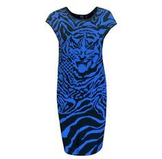 ALEXANDER McQUEEN McQ blue tiger knit bodycon fitted sweater dress 46/10 NEW #AlexanderMcQueen #StretchBodycon #Cocktail