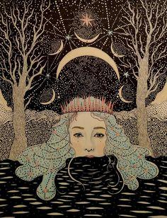 Illustration Moon A Halloween Ritual - Lunaphoria Art And Illustration, Illustrations, Kunst Inspo, Art Inspo, Fantasy Kunst, Fantasy Art, Drawn Art, Mystique, Wow Art