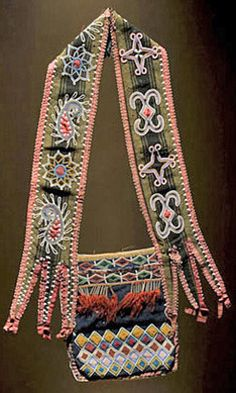 lenape floral patterns | Bag; Delaware, Bandolier, Beaded Wool, Diamond Design, Tin Cones, 35 ... Native American Regalia, Native American Artifacts, Native American History, Indian Beadwork, Native Beadwork, Delaware Indians, Indigenous Art, Diamond Design, Floral Patterns