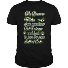 My Bernese Winks At Me T-Shirts, Hoodies. Check Price Now ==► https://www.sunfrog.com/Pets/My-Bernese-Winks-At-Me-Black-Guys.html?41382