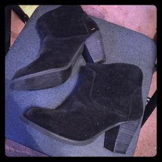 Suede boots worn once Black heel suede slide on boots Forever 21 Shoes Ankle Boots & Booties