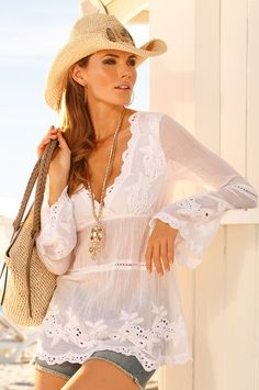 Lace embroidered tunic - #CowgirlChic