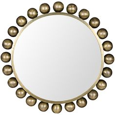 Noir Cooper Antique Brass Mirror ($1,044) ❤ liked on Polyvore featuring home, home decor, mirrors, antique brass mirror, spherical mirrors, geometric mirror, geometric home decor and framing mirrors