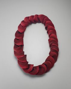 YONG JOO KIM TRANSITIONS IN RED Necklace. Hand cut, hand assembled and hand sewn Velcro hook-and-loop fastener