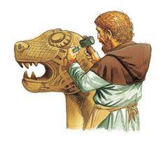 Carving a dragon figurehead for a longship