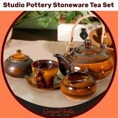Unravel India Studio Pottery Stoneware Tea Set (set of 15)   #Mugset #Coffeemugset #HandpaintedCoffeemugset