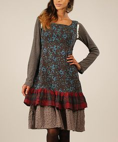 Look at this #zulilyfind! Gray & Blue Floral Tie-Back Dress by Ian Mosh #zulilyfinds