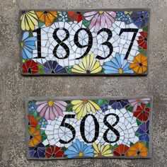 Custom Glass Mosaic Home Address Sign - Gartenkunst Mosaic Garden Art, Mosaic Tile Art, Mosaic Crafts, Mosaic Projects, Mosaic Glass, Mosaic Designs, Mosaic Patterns, House Address Sign, Mosaic Flowers