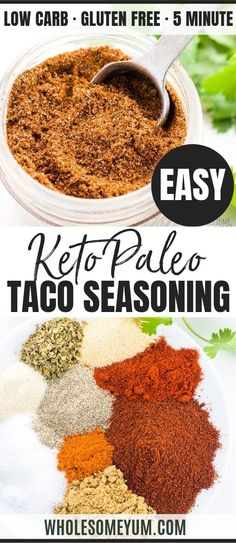 An easy recipe for how to make homemade gluten-free taco seasoning mix! This keto low carb taco seasoning recipe uses simple ingredients you can find at any store. Low Carb Tacos, Paleo Tacos, Healthy Tacos, Keto Taco Salad, Easy Taco Seasoning Recipe, Gluten Free Taco Seasoning, Seasoning Mixes, Taco Meat Seasoning, Puffy Tacos