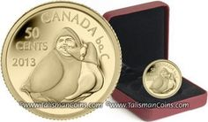 Canada 2013 Native American Inuit Art - Owl Shaman and Goose Sculpture - Canadian Arctic Expedition of 1913 Centennial 100th Anniversary 50 Cents 1/25 Ounce .9999 Pure Gold Proof