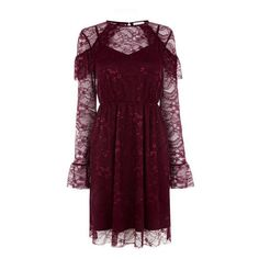 Warehouse Warehouse Chantilly Lace Dress Size 8 (£15) ❤ liked on Polyvore featuring dresses, dark red, lacy dress, dark red dress, lace dress, dark red lace dress and warehouse dresses