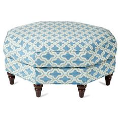 "Check out this item at One Kings Lane! Natalie Ottoman, Teal 38"" diameter x 17"" high octagon"
