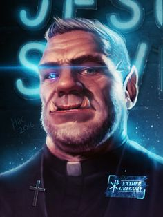 m Half Orc Cleric Symbol portrait Alternate Reality Shadowrun: Father Gregory by Anonymac Art Cyberpunk, Cyberpunk Character, Character Portraits, Character Art, Cthulhu, Shadowrun Rpg, Modern Magic, Shadow Warrior, Sci Fi Characters