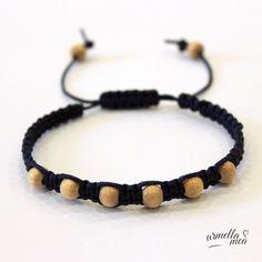 Shamballa bracelet - macrame bracelet - wooden bead bracelet - knotted bracelet - adjustable bracelet - handmade bracelet - woman bracelet by ArmellaMeaJewelry on Etsy