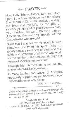 Prayer for Bl James Alberione