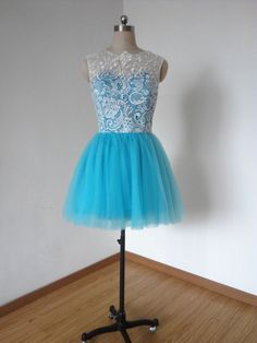 Ball Gown Ivory Lace Turquoise Blue Tulle Short Bridesmaid Dress Prom Dress Homecoming Dress