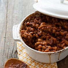These baked beans are a hearty vegetarian side dish and get a good dose of sweetness from fruits.