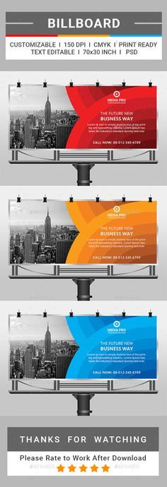 Billboard by This is a Corporate Billboard Template. This template do. Graphic Design Templates, Print Templates, Graphic Design Typography, Elegant Business Cards, Cool Business Cards, Hoarding Design, Digital Signage Displays, Billboard Design, Web Banner Design