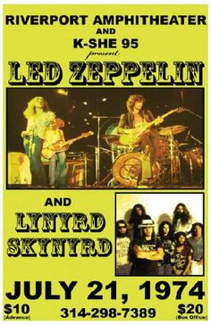 Vintage, retro, hippie classic rock poster - Lynyrd Skynyrd and Led Zeppelin 1974 Rock Posters, Band Posters, Music Posters, Film Posters, Event Posters, Hard Rock, Horror Movie Posters, Horror Films, Jimmy Page