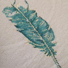 Cross Stitch Feather. Work in progress. Pattern by StitchesLittle