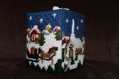Christmas Village Tissue Box Cover by HandcraftedHolidays on Etsy, $15.00