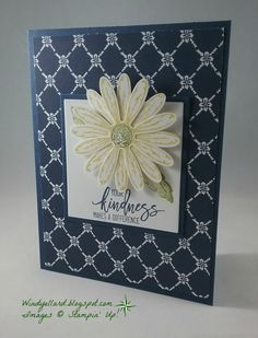 handmade thank you card by Windy Ellard ... navy, yellow, white .... patterned paper ... layered daisy ... Stampin' Up!