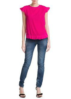 blouse with round neck and petal short sleeves