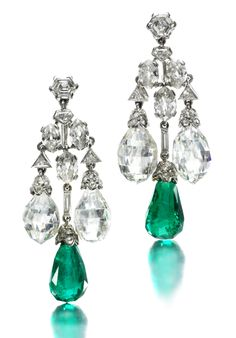 A Pair of Art Deco Platinum, Emerald and Diamond Ear Pendants, by Cartier, circa 1929.