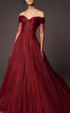 Off The Shoulder Tulle Ball Gown by Zac Posen