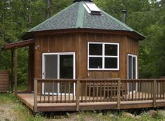 Architecture, : Tiny Wooden Cabin With Hexagonal Shaped House Design Ideas