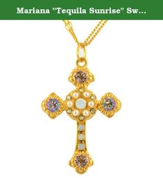 """Mariana """"Tequila Sunrise"""" Swarovski Crystal Gold Plated Cross Pendant Necklace, N-5114 2102. About Mariana: The artist and jewelery designer, Mariana has been creating unique and original exotic pieces of fashion jewellery since 1997. Marianas jewelery is internationally recognized in major fashion centers around the world. The quality and ever changing designs have enabled the Mariana brand to achieve substantial growth all over the world. Marianas designs appeal to women of all ages…"""