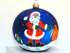 Hand Painted Christmas Ornament Red Glass Ball by aniamelisa