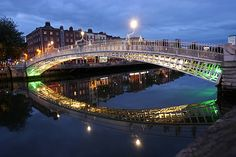 Dublin, Ireland. Crossing the Liffey River.. I've crossed this bridge!