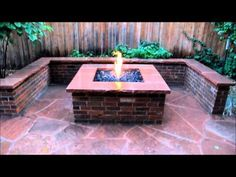 Brick Fire Pit, Seat Wall and Flagstone Patio