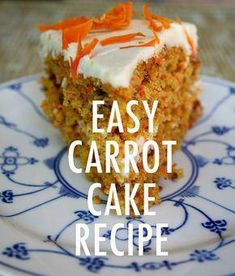 Easy and incredibly moist carrot cake recipe made with real ingredients. This from-scratch carrot cake is so easy, it is ideal for beginners. It has a sweet cream cheese frosting. The flavor of this homemade carrot cake recipe is delightful! Homemade Carrot Cake, Moist Carrot Cakes, Best Carrot Cake, Homemade Cake Recipes, Carrot Recipes, Carrot Loaf, Carrot Cake Cupcakes, Moist Carrot Cake Recipe With Pineapple, Carrot Cake Bars