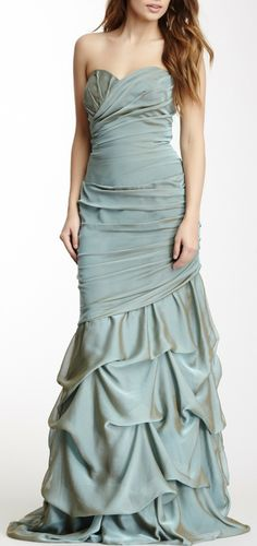 Dalia MacPhee Long Ruched Strapless Gown love the design not a fan of the color the color should be  mint green!
