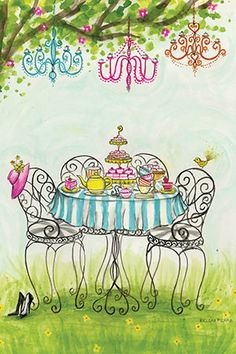 "Tea Party: ""Garden Tea Party"" By Bella Pilar Canvas Print #BPR132"