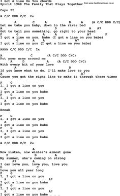 Song lyrics with guitar chords for I Got A Line On You