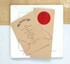 """Pretty Domestic: Red and """"Kraft Paper"""" Brown Dinner Party"""