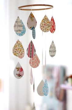 Handmade mobile with paper drops. Love it!