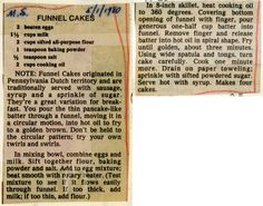 Funnel Cakes Recipe.  Milwaukee Public Library Historic Recipe File (didn't know this existed).