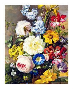 Floral Art Print, Vintage Flowers via Etsy.