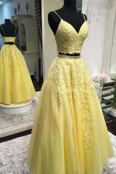 Yellow Tulle Lace V Neck Two Pieces Open Back Long Prom Dress, Homecoming Dress from Sweetheart Dress - New Ideas Two Piece Evening Dresses, Lace Evening Dresses, Evening Gowns, Two Piece Formal Dresses, Chiffon Dresses, Tulle Prom Dress, Grad Dresses, Homecoming Dresses, Tulle Lace