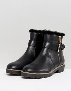 Carvela Leather Flat Side Zip Buckle Strap Boot - Black